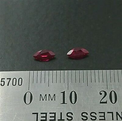 LOOSE RUBY GEMSTONES x2 - 6mm x 3mm Marquise cut created Rubies - Free Post