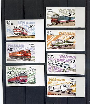 VIETNAM  1988 - Modern locomotives - ( TRAINS ) Set of 7 Imperf. MNH