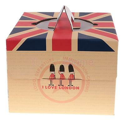 Magideal 10pcs British Flag Cake Box with Handles Wedding Birthday Party Favors