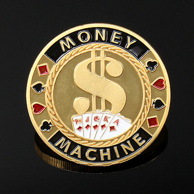 Gold MONEY MACHINE Poker Guard Card Protector Coin Chip Gold Plated w/ Case