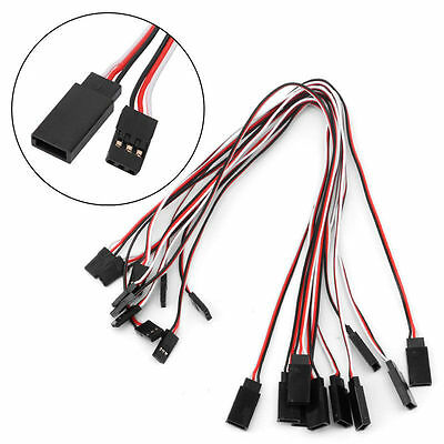 10pcs 300mm Extension Servo Lead Cable Wire Cord For Futaba JR Male To Female