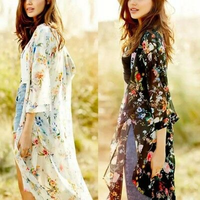 AU Women Boho Floral Chiffon Beach Kimono Cardigan Long Cover Up Jacket Coat