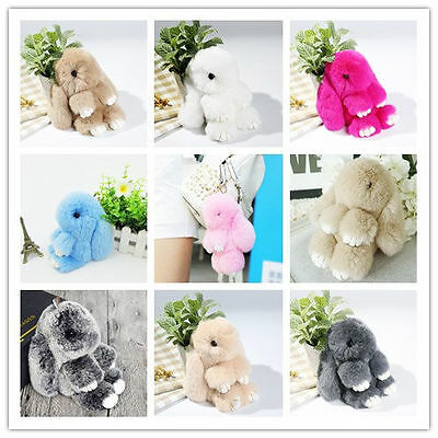 AU Rex Bunny Rabbit Fur Ball Doll Keychain Cute Pendant Key Ring Handbag Decor
