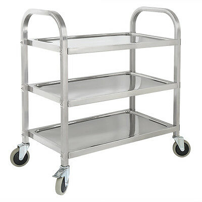 3 Tier Catering Rolling Storage Serving Trolley Stainless Steel Kitchen Cart