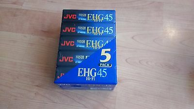 5 x JVC EHG 45 VHSC  cassette tapes Pal Secam. New and Sealed
