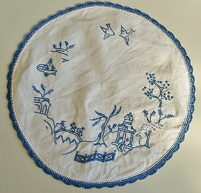 Antique DOILIE Linen Centre piece Hand embroided Crochet edge blue & white