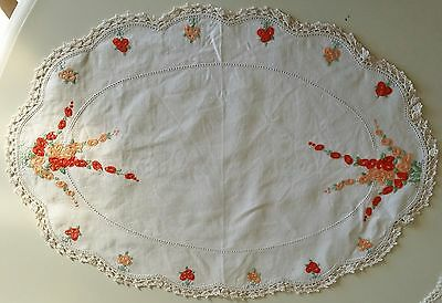 Oval Doilie Linen Centre piece with Hand Filet Needlework and crotchet