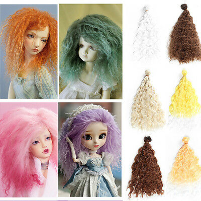 25cm DIY Doll Wig Deep Wave Curly Hair High-temperature Hair for 1/3 1/4 1/6