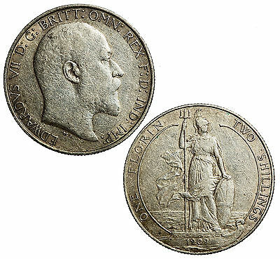 Silver Florin (2 shilling piece) of Edward VII, King of the United Kingdom, 1909