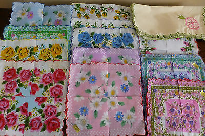New Lot of 12 Chinese Handkerchiefs & 6 Cloth Embroidered Napkins Scalloped Edge