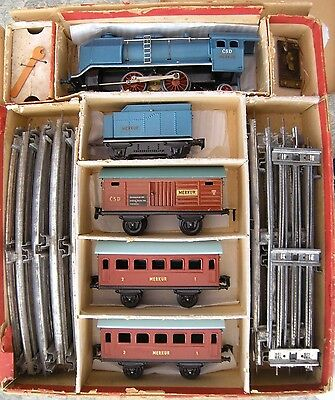 0 gauge electric locomotive by MERKUR: loco + 3 coaches [part boxed]