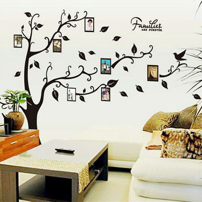 US New Family Tree Wall Decal Sticker Large Vinyl Picture Frame Removable Black