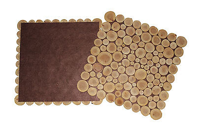 Set of 2 Unique Hand Made Mini Wood Slices Square Shaped Place Mats Placemat NEW