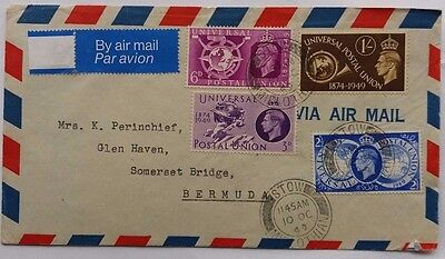 Great Britain 1949 Stow Midlothian Cover Sent Airmail To Bermuda With U P U Set