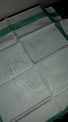 Set Of Four Damask Napkins - Green Willow Pattern - Great Condition