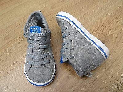 Baby Boys Size 5 Adidas Trainers Grey Hi Tops Canvas Boots Shoes Eur 21