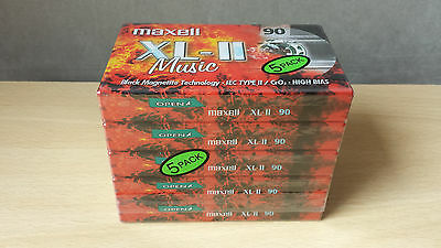 5 x Maxell XL-II 90 Type II Blank Audio Cassette Tapes New & Sealed 5 Pack