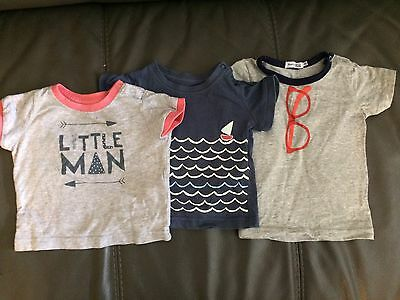 3x Baby Boy T-shirts Tops. Size 00. Cotton On Baby And David Jones Brands.