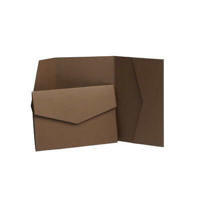 Brown Matte Pocketfold Invites with envelopes. Wedding Invitation Card