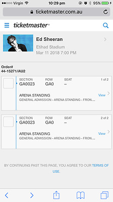 2 X ED SHEERAN / GA FRONT STANDING / 11th MARCH / MELBOURNE