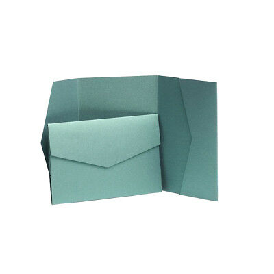 Emerald Green Pearlescent Wedding Pocketfold Invites with envelopes. Card Invite