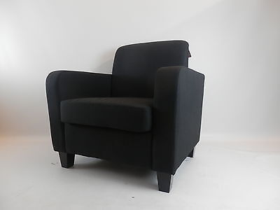 Fabric Linen Office Tub Chair Armchair Living Room Dining Reception - Black