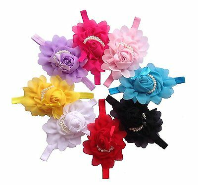 Baby Unisex Rose Flower Pearl Headband Hairband Clips Accessories Photography