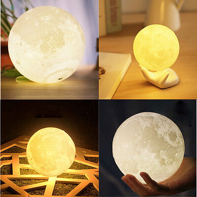 Dimmable 3D Print USB LED Glow Moon Night Light Moonlight Table Desk Lamp Gift
