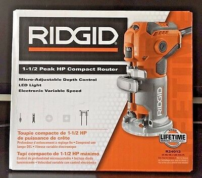 New RIDGID 1-1/2 Peak HP 5.5 Amp Corded Compact Router R24012 FREE SHIPPING!