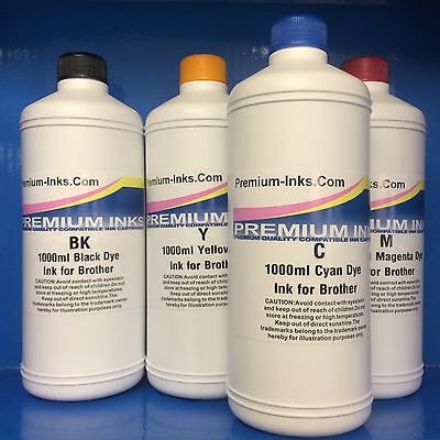 4 Litre Printer Ink Bottles Fits BROTHER to Refill Refillable Cartridges & CISS