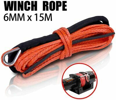 X-BULL 1/4''x50' Synthetic Winch Rope Line Grey 10000LBS Recovery Cable 4WD