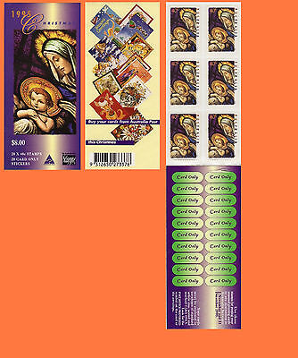 1995 Christmas 20 x 40c Booklet Back Cover Australia Post Advertising MNH