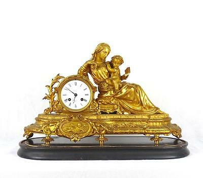 19th C French Gilt Bronze / Metal Mantle Clock