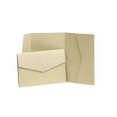 Light Gold Pearlescent Wedding Invites with envelopes. Pocket Wedding Cards