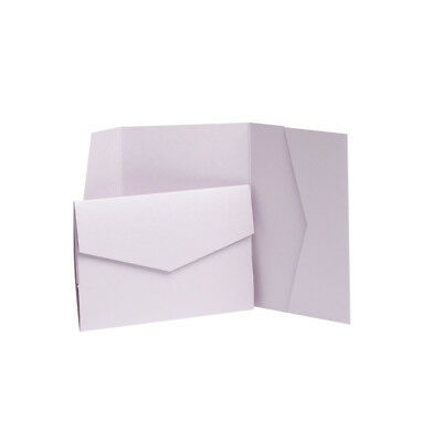 Lilac Pearlescent Pocketfold Invites with envelopes. Wedding invitation cards
