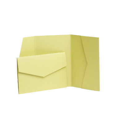 Lime Green Pearlescent Pocket Invites with envelopes. Wedding invitation cards