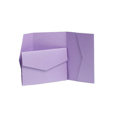 Mauve Pearlescent Wedding card invites with envelopes. Pocketfold Wedding invite