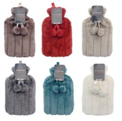 Cosy Large Hot Water Bottle With Faux Fur Cover And Pom Poms
