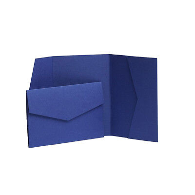 Midnight Blue Pearlescent Pocketfold Wedding Invite with envelopes. Wedding Card
