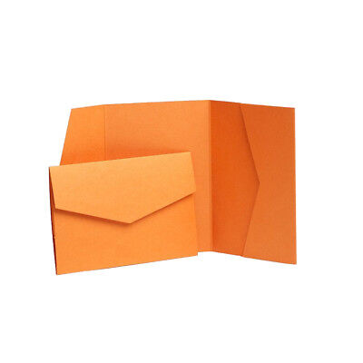 Orange Pearlescent Wedding inviation cards with envelopes. Pocketfold Weddings