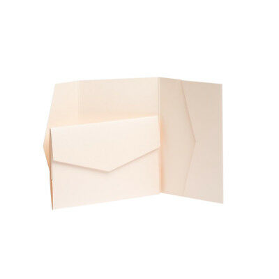 Peach Pearlescent Pocketfold Invites with envelopes. Wedding card Pocket invites