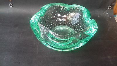 C1960 French Daum Green Glass Controlled Bubble Wavy Edge Bowl, Sighned Daum
