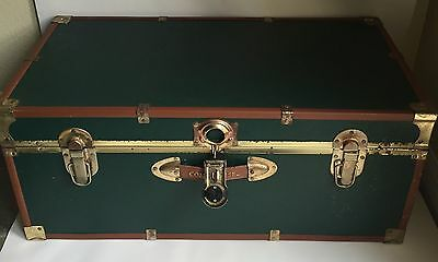 Vintage CONCOURSE Steamer Trunk/Storage Chest - Dark Blue with Brass Accents