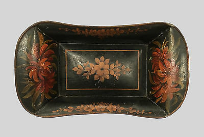 Beautiful antique vtg ca 1840s Folk Art Painted Tin Bread Tray Tole Ware florals