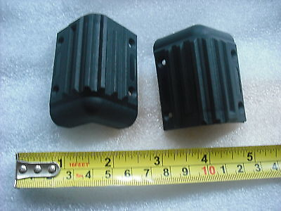2x Black plastic protective corners for amps corner protector guard pair cabinet