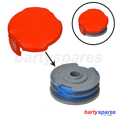 Double Autofeed Spool + Line + Spool Cap Cover For Flymo Strimmers + Trimmers