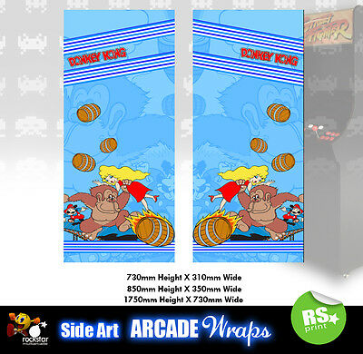 Donkey Kong Blue  Arcade Side Artwork Stickers Graphics  / Laminated All Sizes