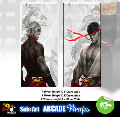 Street Fighter 5  Arcade Side Artwork Stickers Graphics  / Laminated All Sizes