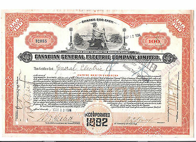 Canadian General Electric--Extremely Rare 100 common shares, never seen before!!