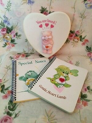 Vintage Care Bears Trinket Box And Note Pads